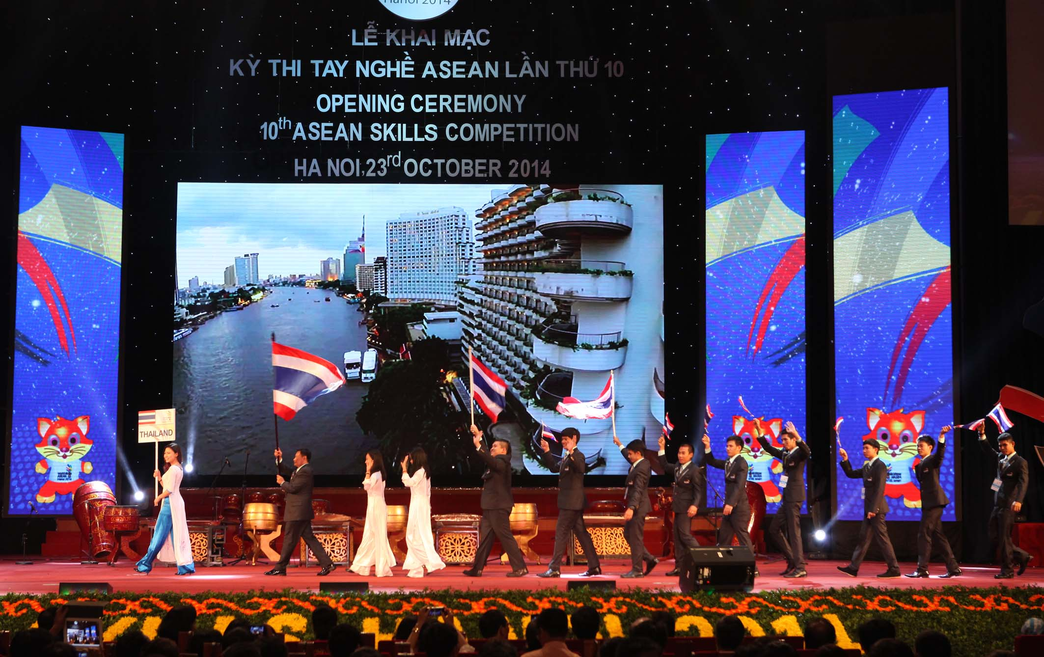 Thailand's delegation parades into stage