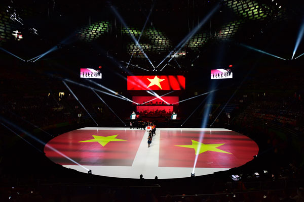 Vietnam national flag is raised during opening ceremony of WorldSkill competition