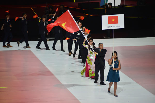 Vietnam's delegation is entering the stage during opening ceremony