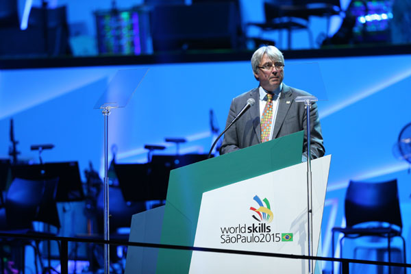 Mr. Simon Bartley, President of WorldSkill International organization delivers a speech at opening ceremony